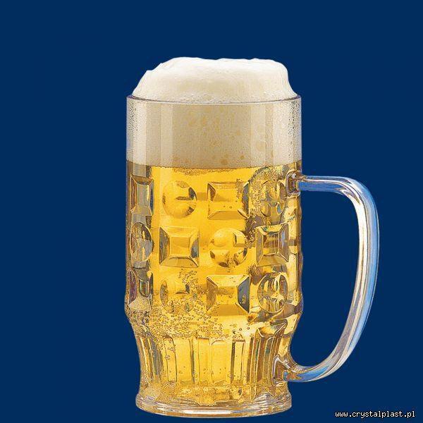 Plastikowy kufel do piwa z uchem uchwytem 0,5l pół litra SAN - szkłopodobny szkłopodobne kufle plastikowe