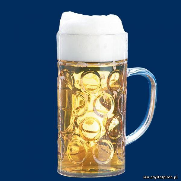 Plastikowy kufel do piwa z uchem uchwytem 1l litr SAN - szkłopodobny szkłopodobne kufle plastikowe