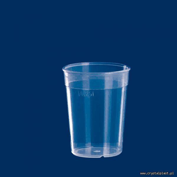 Plastikowy kubek transparentny PP 0,25l litra kubki plastikowe transparentne przeźroczyste