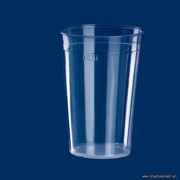 Kubek szkłopodobny 0,5 l PC pół litra kubki szkło podobne przeźroczysty